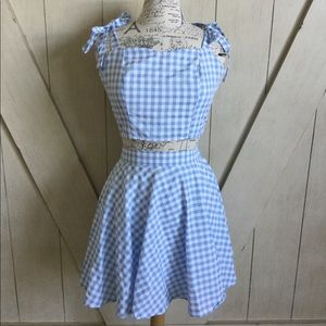 🎀NWOT ModCloth Blue Gingham Two Piece Set🎀